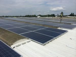 Solar PV Panel Arrays on Camlab's Roof