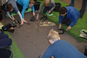 Students excavating at Flag Fen