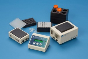 MIC20 remote control for dry block heater chillers with blocks for heating microtubes and centrifuge tubes