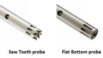 Saw tooth or flat bottom homogeniser probe