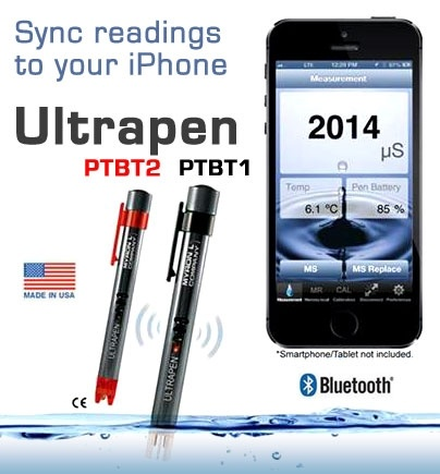 PTBT2 pH tester and PTBT1 conductivity tester bluetooth enabled for iPhone
