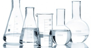 Lab glassware filled with water