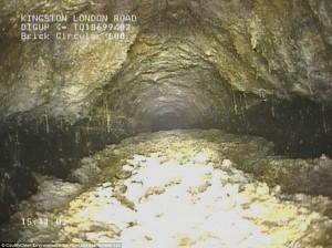 Fat blocking a sewer in Kingston, London, UK in 2013