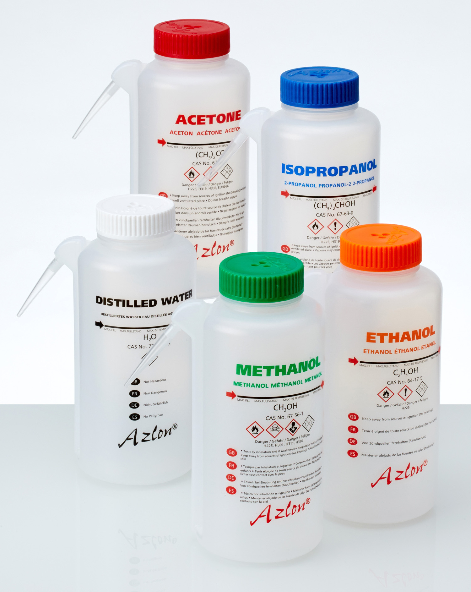 Azlon® Multi-lingual Round Integral wash bottle